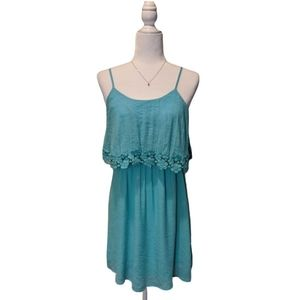 Flying Tomato Teal Blue Dress W/ Floral Detail Top